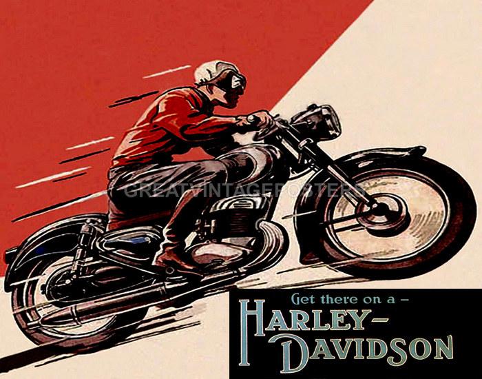 Vintage Harley Davidson Poster