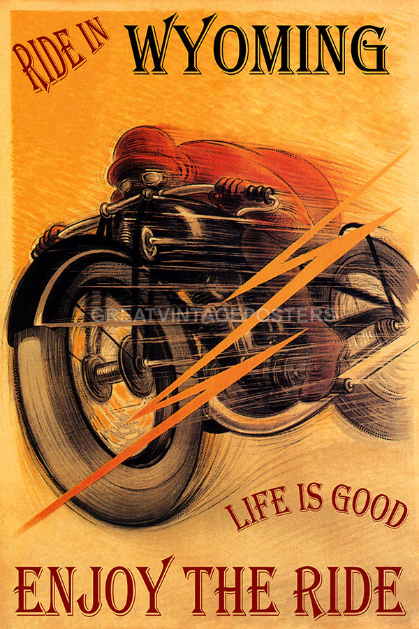 POSTER MOTORCYCLE RIDE IN GEORGIA LIFE IS GOOD BIKE RIDING VINTAGE REPRO FREE SH