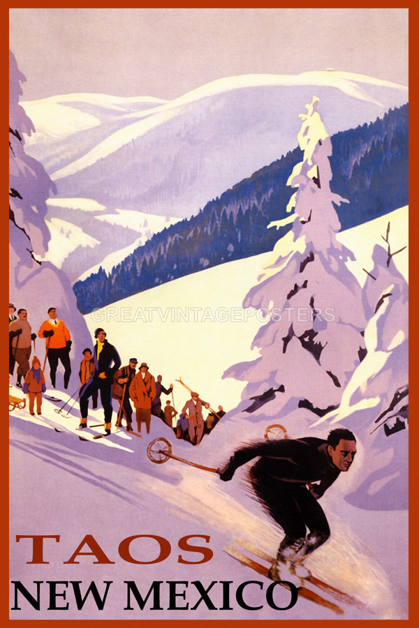 POSTER SKI TAOS NEW MEXICO DOWNHILL SKIING WINTER SPORT VINTAGE REPRO FREE S//H