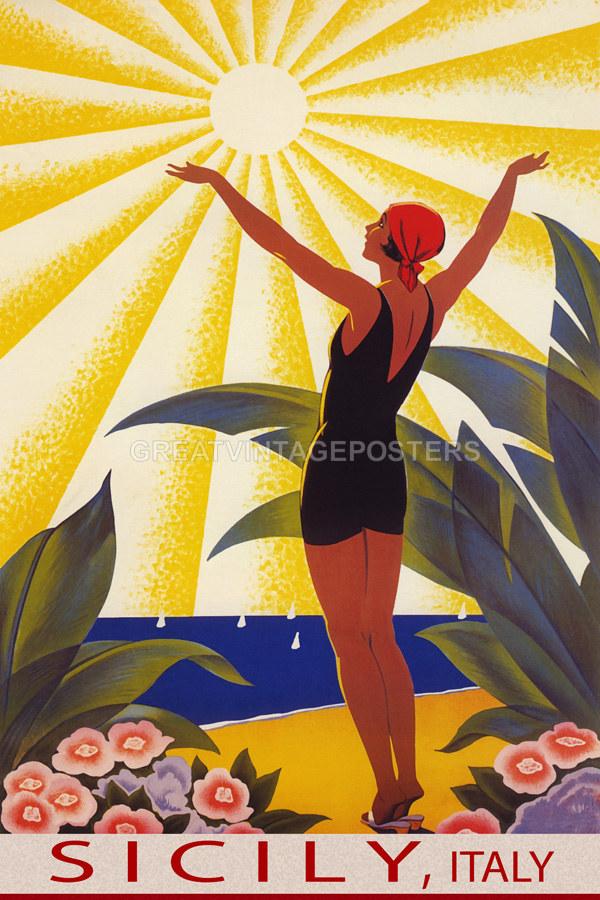 POSTER SKI IN THE SUN ITALY WINTER SPORT GIRL FUN SKIING VINTAGE REPRO FREE S//H