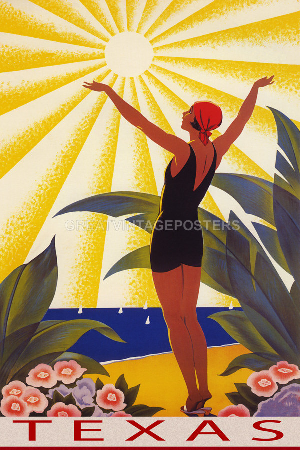 POSTER TEXAS YOUTH BEACH FUN SUN VACATION SUMMER TRAVEL VINTAGE REPRO FREE S//H