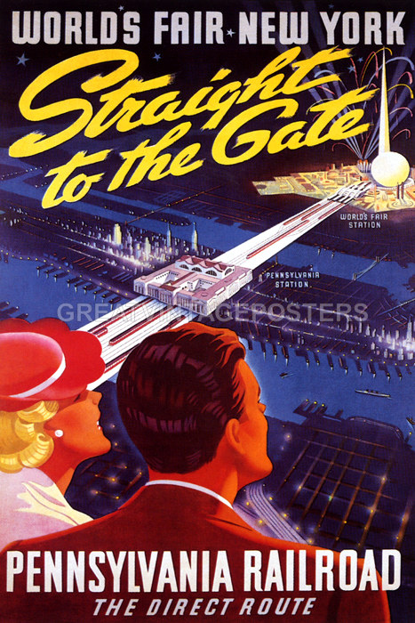 Railroad Train New York World Fair 1939 American Vintage Poster Repro FREE S//H