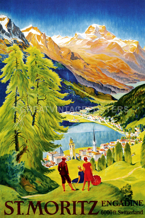 MORITZ SWITZERLAND SKI WINTER SPORT ENJOY RIDE VINTAGE REPRO FREE S//H POSTER ST