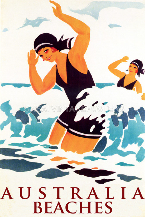 POSTER AUSTRALIAN BEACHES GIRL WITH DOG TRAVEL TOURISM VINTAGE REPRO FREE S//H