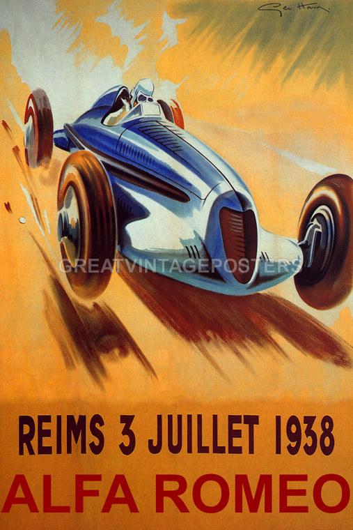 REIMS FRENCH RIVIERA 1938 FAST ALFA ROMEO CAR AUTOMOBILE ...