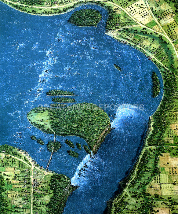 Details About Birds Eye View Map Of Niagara Falls Canada Usa By George Catlin 1827 Repro