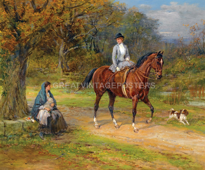 Poverty And Privilege Peasant Lady Riding Horse Painting By Heywood Hardy Repro Ebay