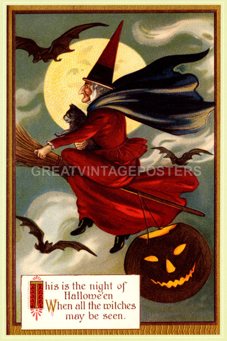 WITCH FLYING BROOM HALLOWEEN CAT FULL MOON BAT PUMPKIN VINTAGE POSTER REPRO