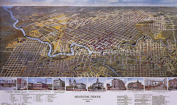 Map Of Texas In 1800.Details About 1800 S Map Houston Texas Streets Bird Eye View Landmarks Usa Vintage Repro