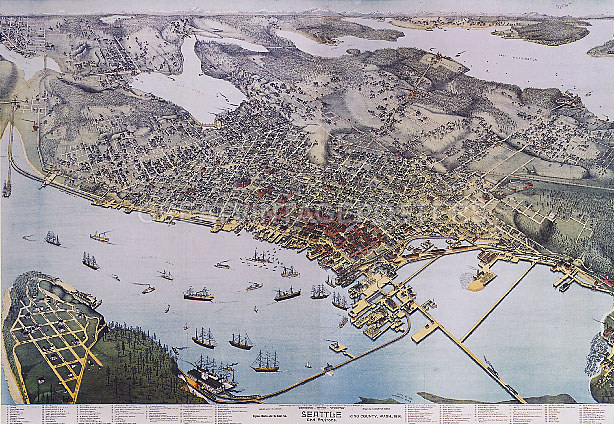 Details about 1800\'S MAP SEATTLE KING WASHINGTON STREET USA REPRO POSTER