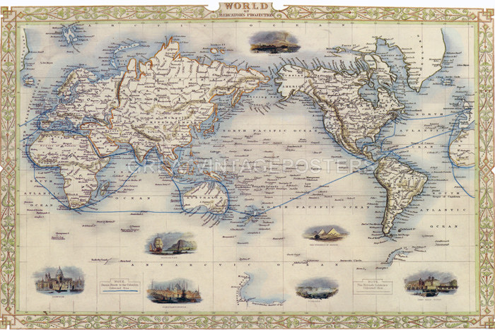 Details about 1800\'S MAP WORLD MERCATORS PROJECTION USA REPRO POSTER