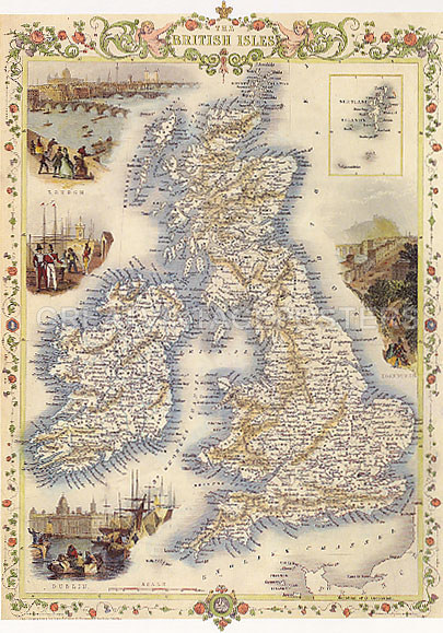 Map Of England 1800.Details About 1800 S Map British Isles England Dublin Edinburgh Vintage Poster Repro