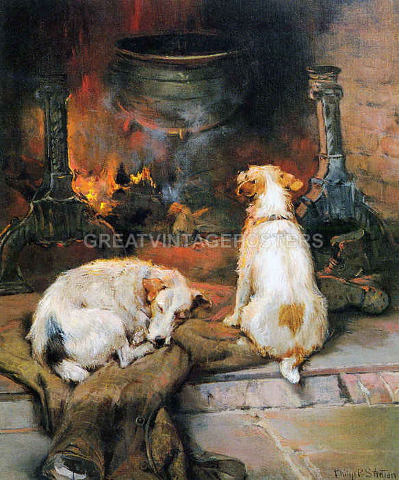 Dog Fire Warming By The Hearth Animal Painting By Philip Stretton Repro Ebay