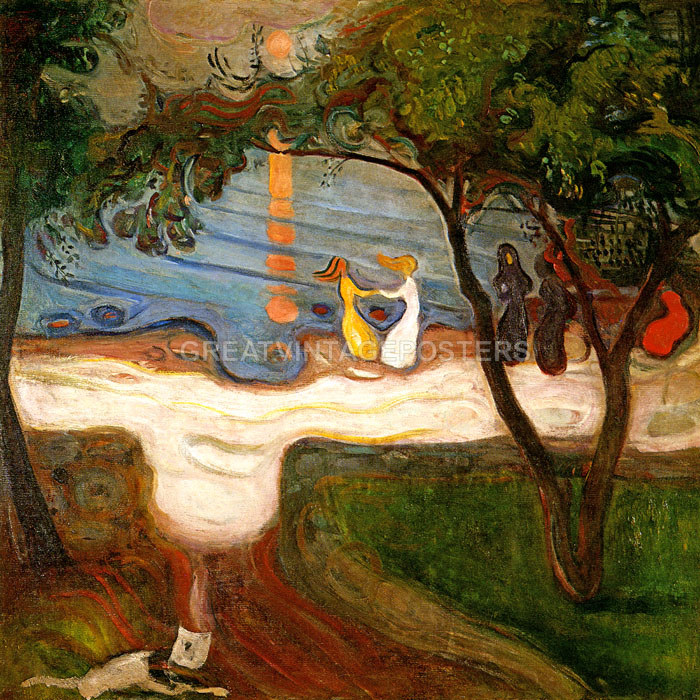 SUMMER NIGHT INGER ON THE SHORE SISTER 1889 PAINTING BY EDVARD MUNCH REPRO