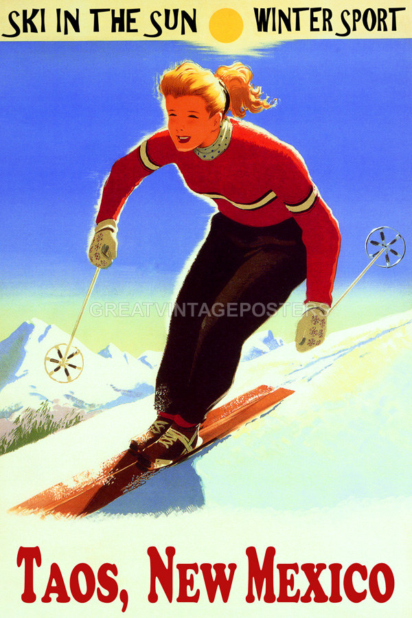 POSTER WINTER SPORT SKI TAOS NEW MEXICO MOUNTAINS SKIING VINTAGE REPRO FREE S//H