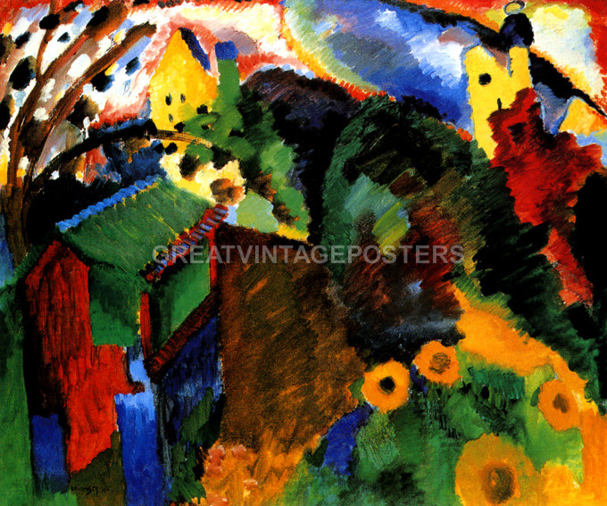 MURNAU VIEW WITH RAILWAY AND CASTLE TRAIN PAINTING BY WASSILY KANDINSKY REPRO
