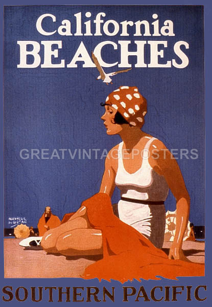 Long Beach California Girl Starfish Travel Vintage Poster Repro FREE S//H in USA