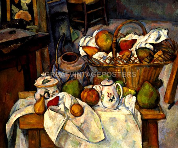 La Table De Cuisine #9: LA TABLE DE CUISINE THE KITCHEN TABLE FRUITS PAINTING BY PAUL CEZANNE REPRO