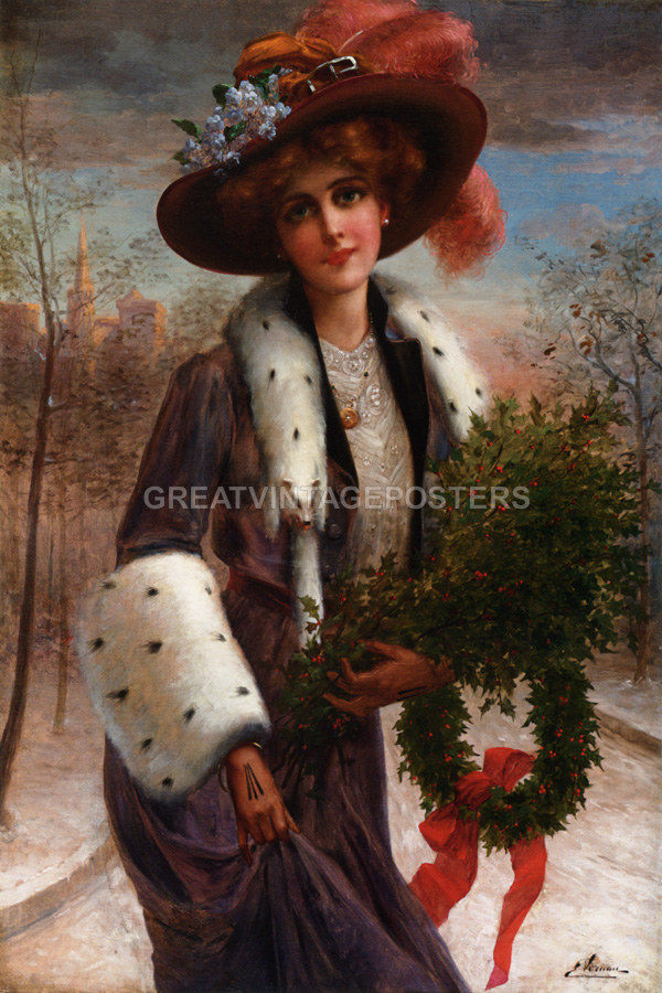 LADY GIRL HAT FULL OF FLOWERS GARDEN PARIS FRANCE PAINTING BY EMILE VERMON REPRO