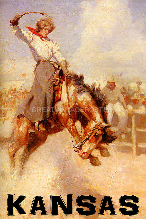 POSTER KANSAS RODEO BRONC RIDING HORSE COWGIRL SPORT USA VINTAGE REPRO FREE S//H