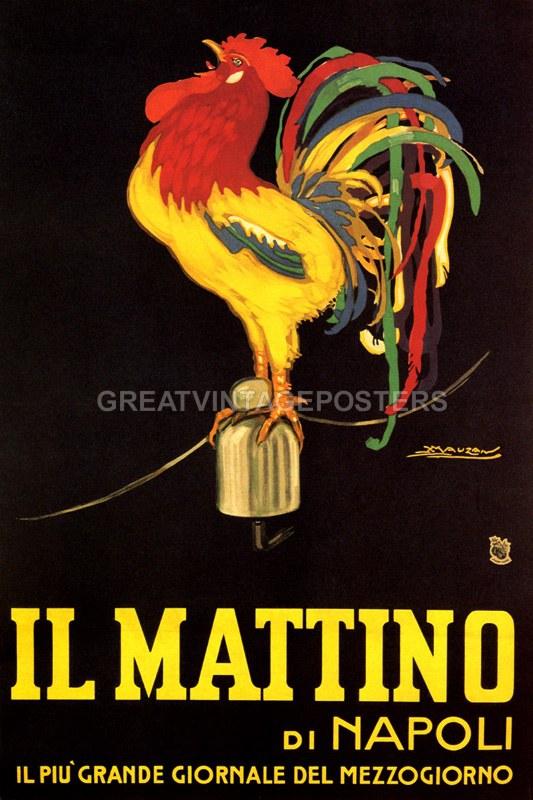 Repro Italian Antique Tarot Minchiate Cards 1 790: IL MATTINO DI NAPOLI NEWSPAPER ROOSTER SINGING ITALIAN