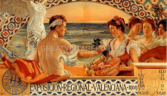 POSTER VALENCIA SPAIN TRAVEL BEACH FASHION SAILING DANCING VINTAGE REPRO FREE SH